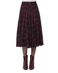 Akris Punto Glen Plaid Midi Skirt Red Pattern