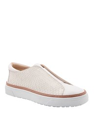 Delman Minx Leather Slip On Sneakers White