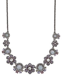 Marchesa Floral Statement Necklace 16 Gray Multi