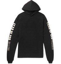 Fear Of God Oversized Printed Cotton Jersey Hoodie Black