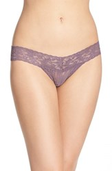 Women's Hanky Panky 'Signature Lace' Low Rise Thong Grey Dusk