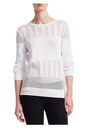 Saks Fifth Avenue Collection Mixed Stitch Pullover White