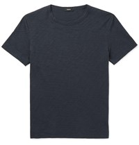 Theory Slim Fit Melange Cotton Jersey T Shirt Blue