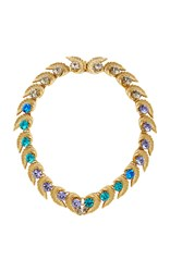 Nicole Romano 18K Gold Plated Leaf And Colored Crystal Necklace Blue