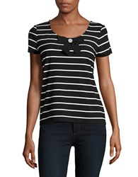 Karl Lagerfeld Striped Bow Accented Tee Black