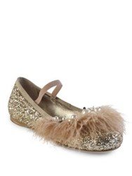 Miu Miu Jeweled Feather And Glitter Ballet Flats Gold
