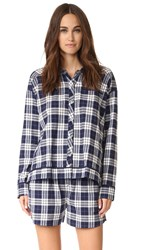 Skin Woven Plaid Shirt Navy Azure White Plaid