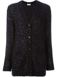 Saint Laurent Sequin Embellished Cardigan Black