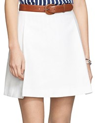 Lauren Ralph Lauren Pleated Cotton Miniskirt White