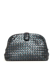 Bottega Veneta The Lauren 1980 Intrecciato Leather Clutch Blue Multi