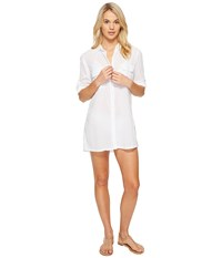 Lauren Ralph Lauren Crushed Camp Shirt Cover Up White Women's Swimwear