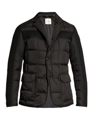 Moncler Ardenne Notch Lapel Layered Down Coat Black