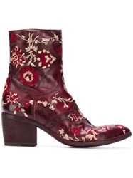 Fauzian Jeunesse' Jeunesse Embroidered Ankle Boots Pink And Purple