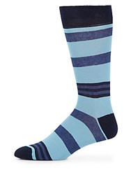 Saks Fifth Avenue Mid Calf Cotton Blend Mixed Stripe Socks Navy