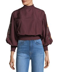 Romeo And Juliet Couture Embroidered Sleeve Smocked Blouse Dark Red