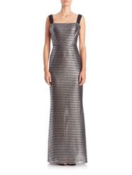 Phoebe Couture Striped Metallic Gown