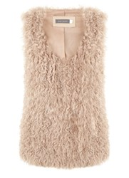 Mint Velvet Camel Shearling Gilet Light Brown