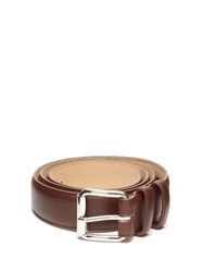 A.P.C. Topstitched Leather Belt Brown