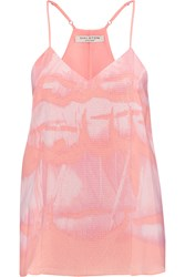 Halston Sequin Embellished Printed Crepe De Chine Camisole Pink