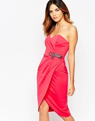 Little Mistress Sweetheart Pencil Dress With Wrap Skirt And Embellished Waist Fuschiapink