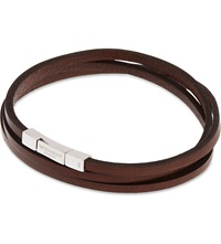 Tateossian Leather Double Wrap Bracelet Brown