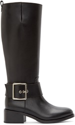 Junya Watanabe Black Leather Buckle Riding Boots