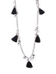Cara Tassel Pendant Necklace Black Silver