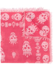 Alexander Mcqueen King And Queen Skull Scarf Pink And Purple