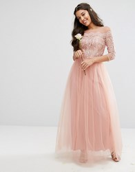 Chi Chi London Premium Lace Maxi Dress With Tulle Skirt Dusky Rose Pink