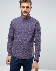 Pretty Green Rindle Floral Shirt Slim Fit In Mid Blue Navy