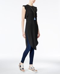 Rachel Roy Ruffled Long Tunic Black
