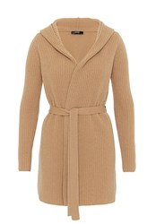 Hallhuber Hooded Cardigan With Belt Camel