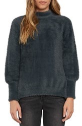 Willow And Clay Women's Fuzzy Mock Neck Sweater Slate