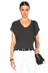 The Great Lace U Neck Tee In Black Gray