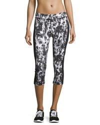 Xcvi Tie Dye Contrast Side Cropped Leggings Black White