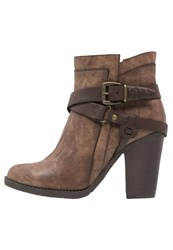 Head Over Heels By Dune Posey High Heeled Ankle Boots Tan Brown