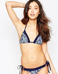 South Beach Ditsy Floral Triangle With Frill Bikini Top Multi