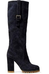 Red V Buckled Suede Knee Boots Navy