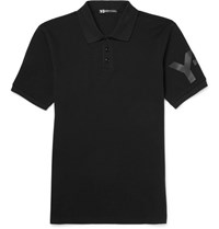 Y 3 Slim Fit Printed Cotton Pique Polo Shirt Black