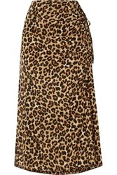 Veronica Beard Vanity Ruched Leopard Print Stretch Silk Midi Skirt Leopard Print