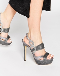 Little Mistress Platform Heeled Sandals Silver