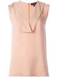 Theory Draped V Neck Top Pink Purple