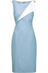 Oscar De La Renta Two Tone Wool Blend Twill Dress Sky Blue