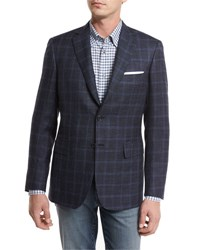 Brioni Heathered Windowpane Check Two Button Sport Coat Navy