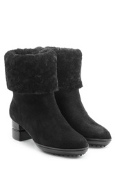 Salvatore Ferragamo Suede Ankle Boots With Sheepskin Black