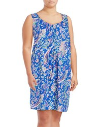 Lauren Ralph Lauren Classic Knit Short Nightgown Blue Paisley