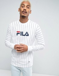 Fila Vintage Black Long Sleeve T Shirt With Pin Stripe White