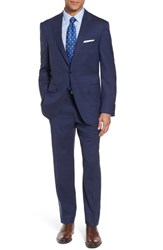 Peter Millar Men's Big And Tall Classic Fit Check Wool Suit Blue