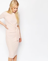 Asos Crepe Pencil Dress With Knot Detail Pink
