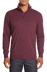 Men's Bugatchi Quarter Zip Merino Wool Sweater With Quilted Elbow Patches Bordeaux
